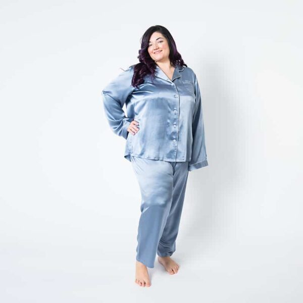 Forsters Finery Mulberry Silk Twilight Blue Ladies Plus Size Pajama Set