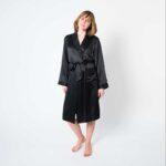 Forsters Finery Silk Black Ladies Robe
