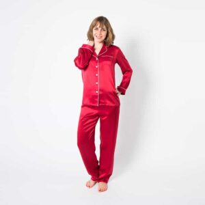 Forsters Finery Mulberry Silk Red Ladies Pajama Sets