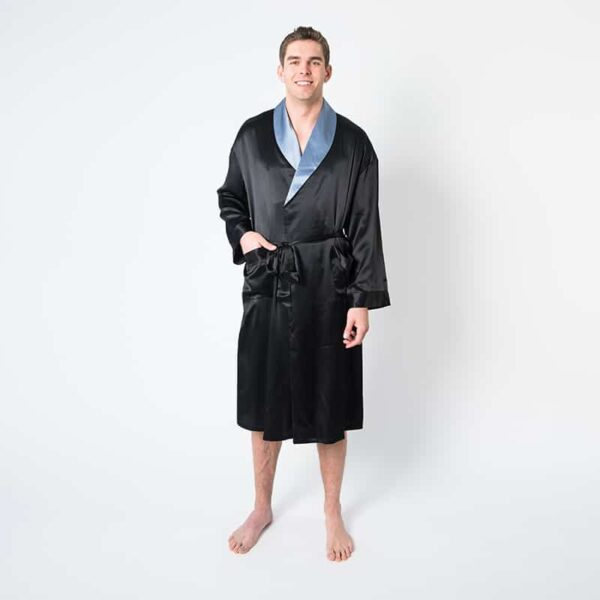 Forsters Finery Silk Black-Blue Men's Robe