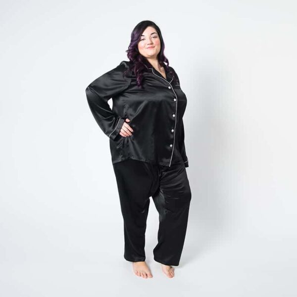 Forsters Finery Mulberry Silk Black Ladies Plus Size Pajama Set