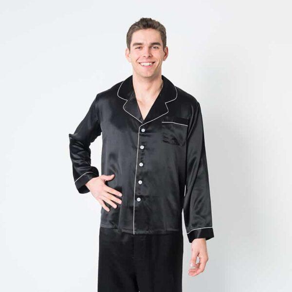 Forsters Finery Silk Black Men's Pajama Set