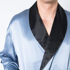 Forsters Finery Silk Blue-Black Men's Robe