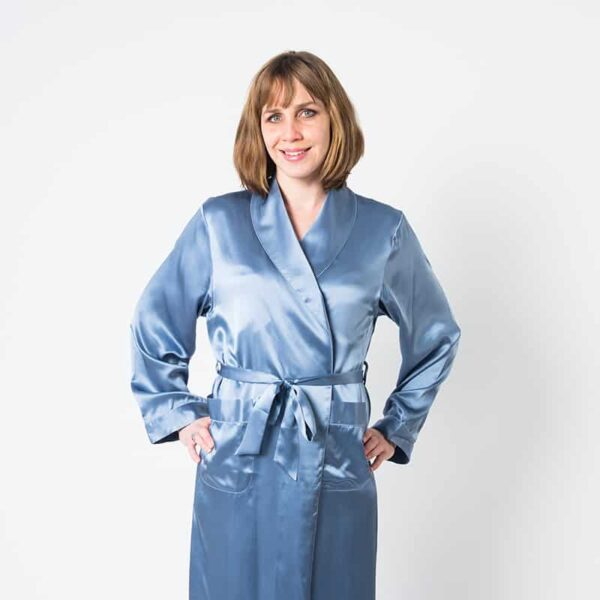 Forsters Finery Mulberry Silk Twilight Blue Ladies Robe