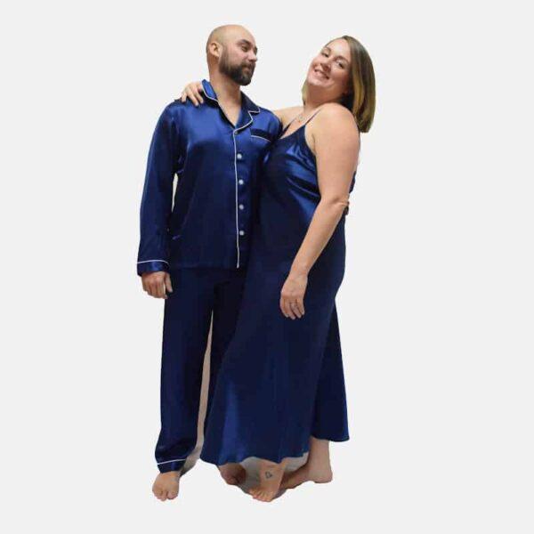 Forsters Finery Silk Navy Men's Pajama Set